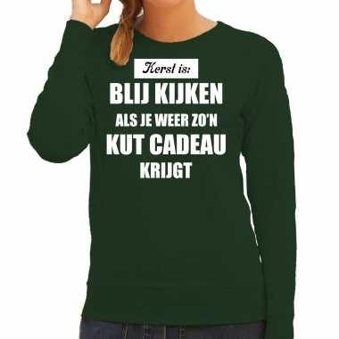 Groene foute kersttrui / sweater kerst is blij kijken / kut cadeau outfit dames