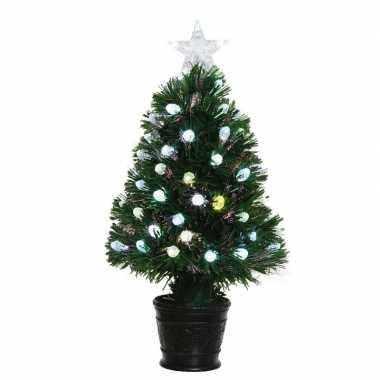 Groene glasvezel kunstkerstboom 90 cm met led lampjes