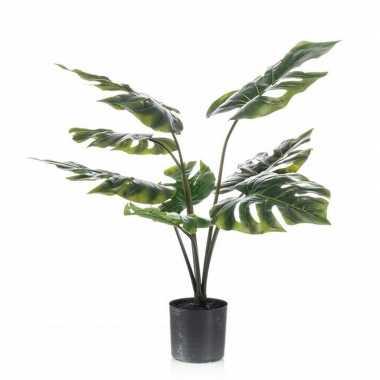 Feest groene monstera gatenplant kunstplant 60 cm in zwarte pot
