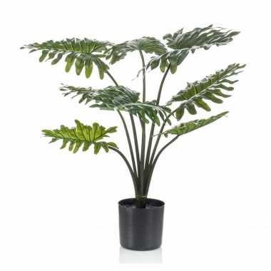 Feest groene philodendron kunstplant 60 cm in zwarte pot