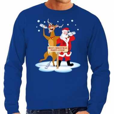 Grote maten kersttrui dronken kerstman en rendier blauw heren