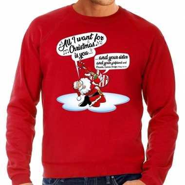 Grote maten kersttrui zingende kerstman met gitaar rood heren