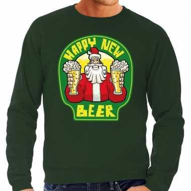 Grote maten nieuwjaar / kersttrui happy new beer groen heren