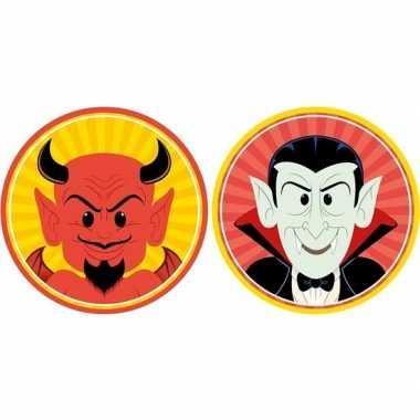 Halloween - 20x halloween onderzetters duivel en vampier/dracula