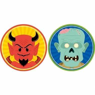 Halloween - 20x halloween onderzetters duivel en zombie