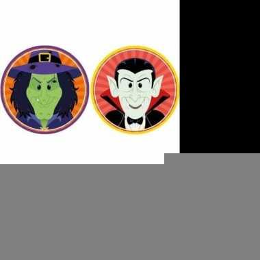Halloween - 20x halloween onderzetters heks en vampier/dracula