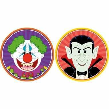 Halloween - 20x halloween onderzetters horror clown en vampier/dracul