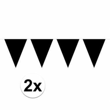 Halloween - 2x mini vlaggenlijn / slinger versiering zwart