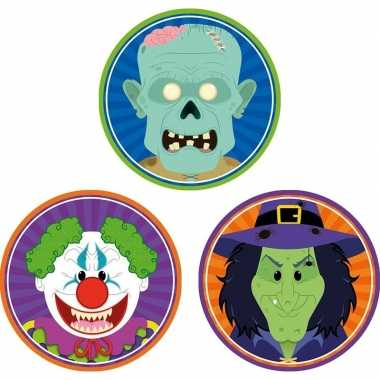 Halloween - 30x halloween onderzetters horror clown/heks/zombie