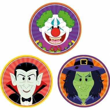 Halloween - 30x halloween onderzetters vampier/heks/horror clown