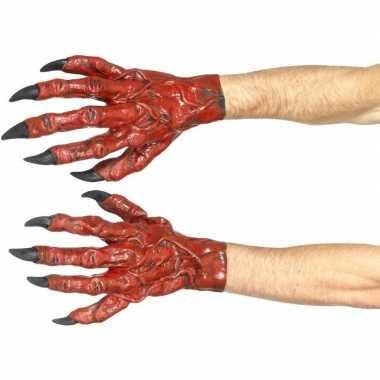 Halloween - duivel handschoenen latex voor volwassenen