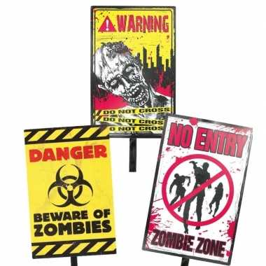 Feest halloween halloween zombie waarschuwingsbord danger 38 cm