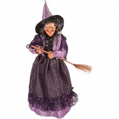 Halloween Decoratie Bestellen.Halloween Heks Decoratie Pop Paars Zwart 40 Cm Halloween Versiering