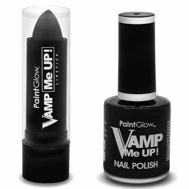 Feest halloween heksen schmink set mat zwarte lippenstift en nagellak