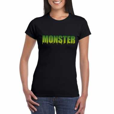 Feest halloween monster tekst t-shirt zwart dames