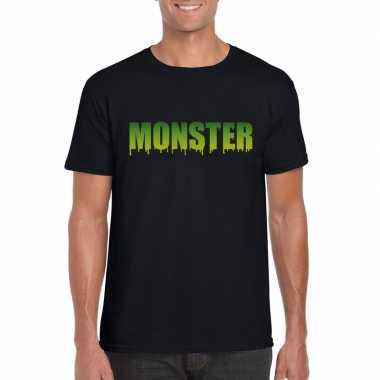Feest halloween monster tekst t-shirt zwart heren