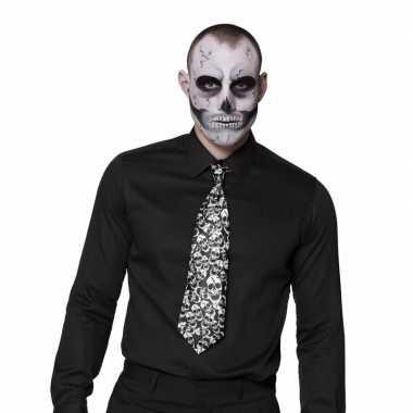 Feest halloween stropdas met doodshoofden