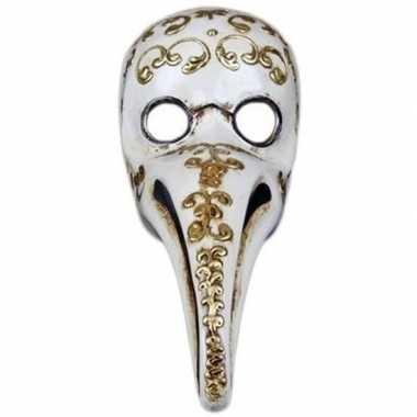 Halloween - venetiaans wit gezichtsmasker pestdokter/pestmeester hall
