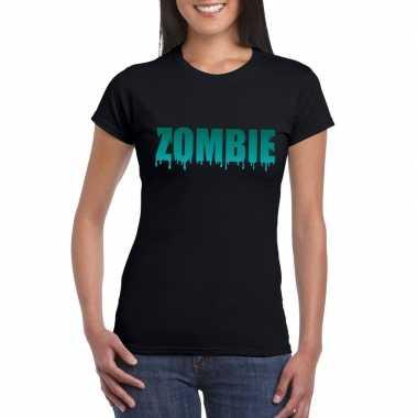 Feest halloween zombie tekst t-shirt zwart dames