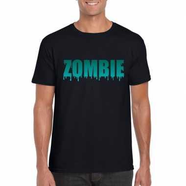Feest halloween zombie tekst t-shirt zwart heren
