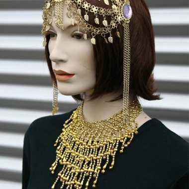 Feest halsketting goud met steentjes