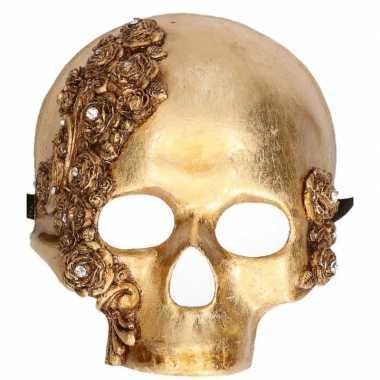 Feest handgemaakt decoratie masker gouden schedel