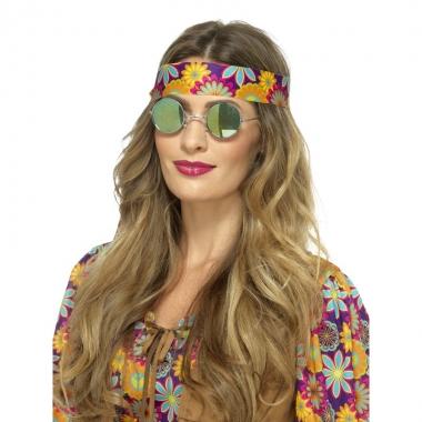 Feest hippie bril spiegelglazen groen blauw voor volwassenen