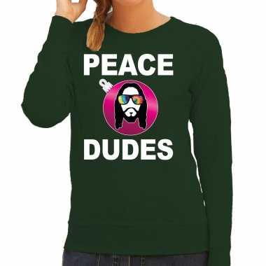 Hippie jezus kerstbal sweater / kerst outfit peace dudes groen voor dames