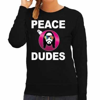 Hippie jezus kerstbal sweater / kerst outfit peace dudes zwart voor dames