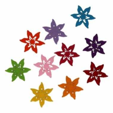Feest hobby vilt 10 gekleurde vilten ster bloemen 4 cm