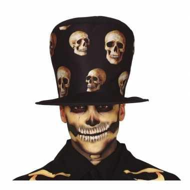 Hoge verkleed hoed zwart met schedels