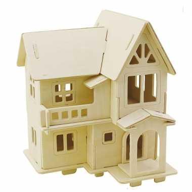 Feest houten 3d bouwpakket huis met balkon 15 x 17 x 19 cm