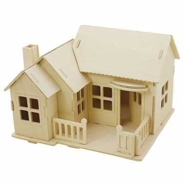 Feest houten 3d bouwpakket huis met terras 19 x 17 x 15 cm