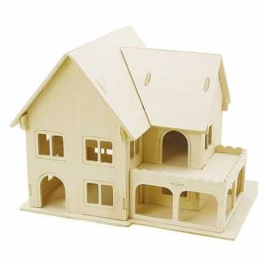 Feest houten 3d bouwpakket huis met veranda 22 x 16 x 17 cm