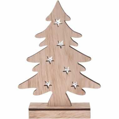 Houten kerstboompje decoratie 28 cm met led verlichting