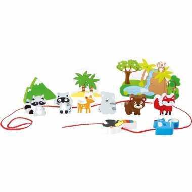 Feest houten safari speelgoed set 12 delig
