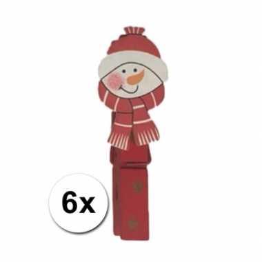 Houten sneeuwpop knijpers 6 stuks