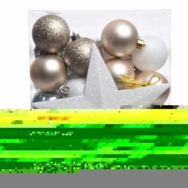 Ijsblauw/goud/wit kerstballen pakket met piek 33 stuks