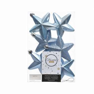 Ijsblauwe kerstversiering sterren kerstballen 7,5 cm