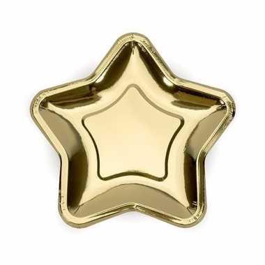 Feest kartonnen sterren bordjes goud 18 cm
