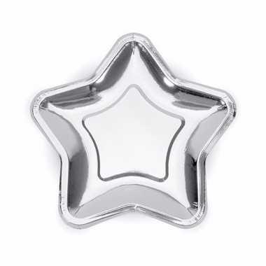 Feest kartonnen sterren bordjes zilver 18 cm