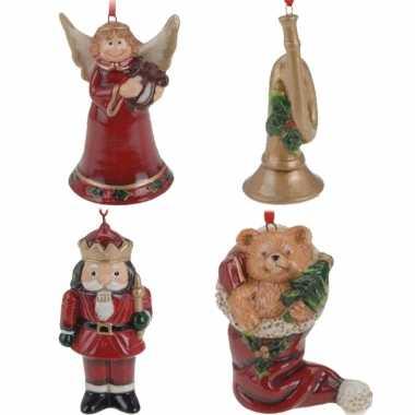 Keramiek kerstboom hangers setje van 4x stuks ornamenten/figuren 8 cm