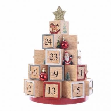 Feest kerst decoratie adventskalender kerstboom mdf 28 cm