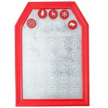 Feest kerst decoratie planbord magneetbord rood 31 x 45 cm