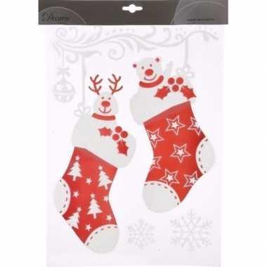 Feest kerst decoratie raamstickers sokken 2 stuks 40 cm type 2