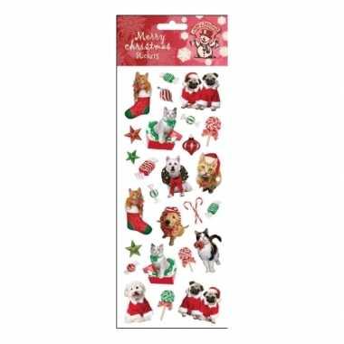 Feest kerst huisdieren stickervellen