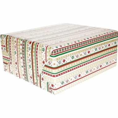 Kerst inpakpapier wit met strepen/dessin print 200 x 70 cm op ro