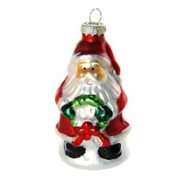 Feest kerstbal kerstman met krans 8 cm