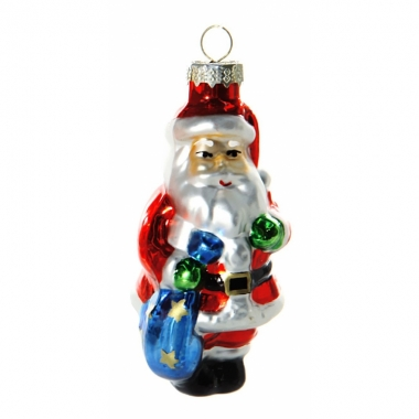 Feest kerstbal kerstman met zak 8 cm