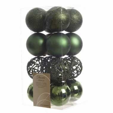 Kerstbal pakket glanzend groen 6 cm